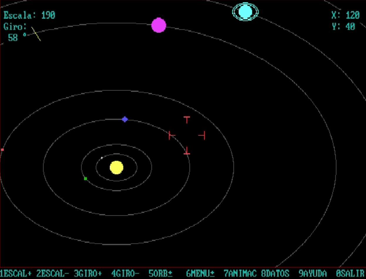 Sistema Solar: Programa en lenguaje GW-BASIC,  por Raúl Hernández Caballero, año 1992